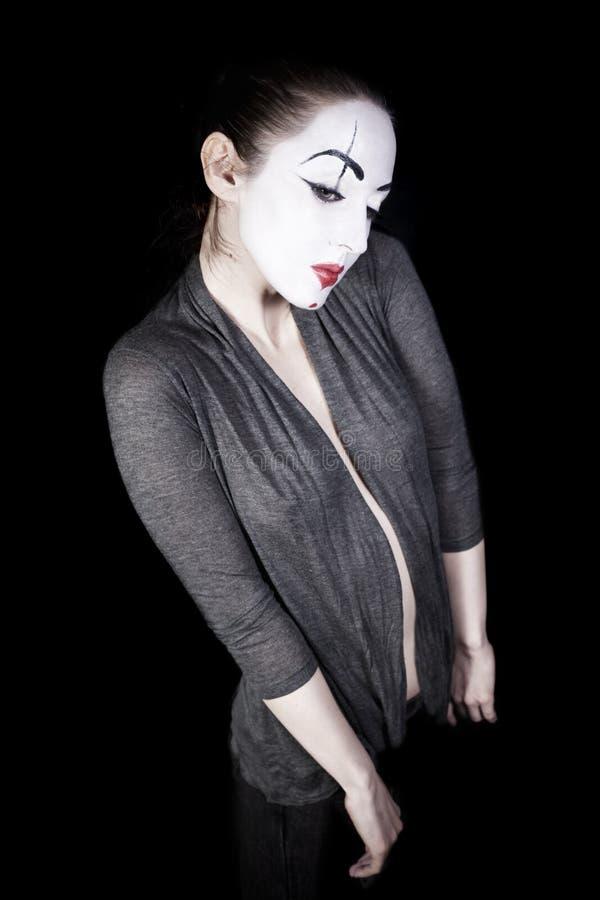 λυπημένη γυναίκα mime ανασκόπ&eta στοκ εικόνα