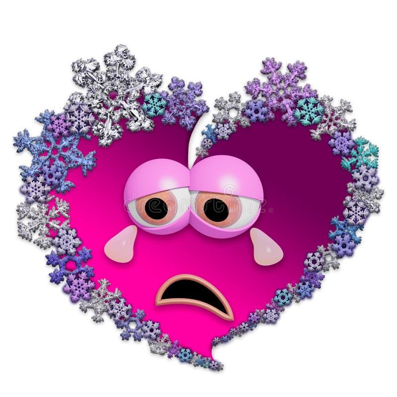 Λυπημένη ζωντανεψοντη καρδιά φιαγμένη από snowflakes στοκ εικόνα με δικαίωμα ελεύθερης χρήσης