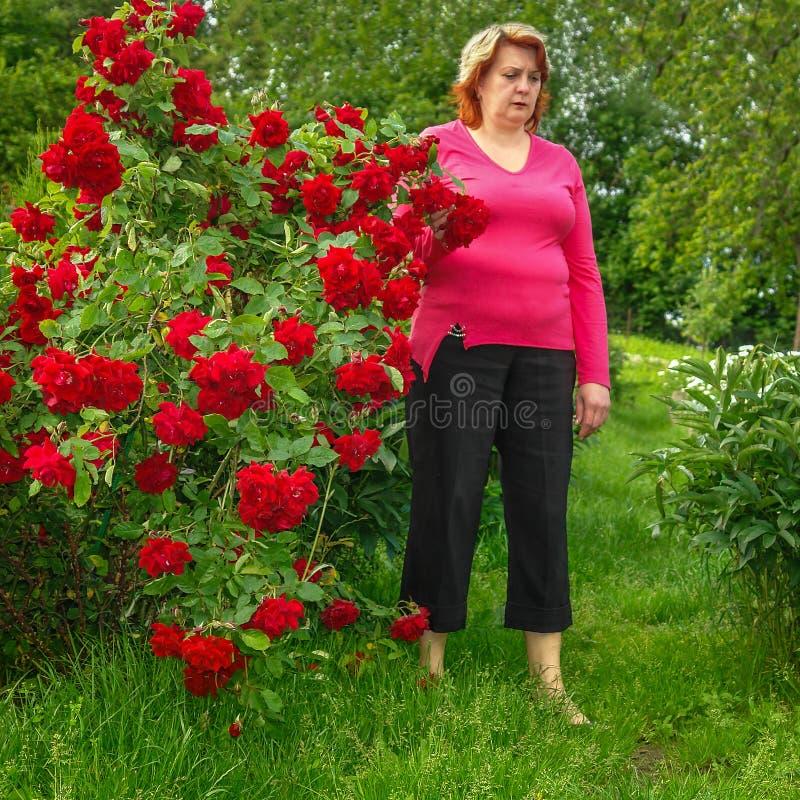 Λυπημένη μέσης ηλικίας γυναίκα που στηρίζεται στο πάρκο στοκ εικόνες