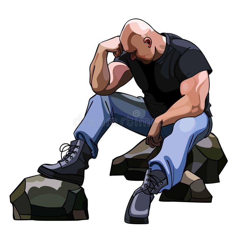 Λυπημένη μεγάλη φαλακρή συνεδρίαση ατόμων στους βράχους διανυσματική απεικόνιση