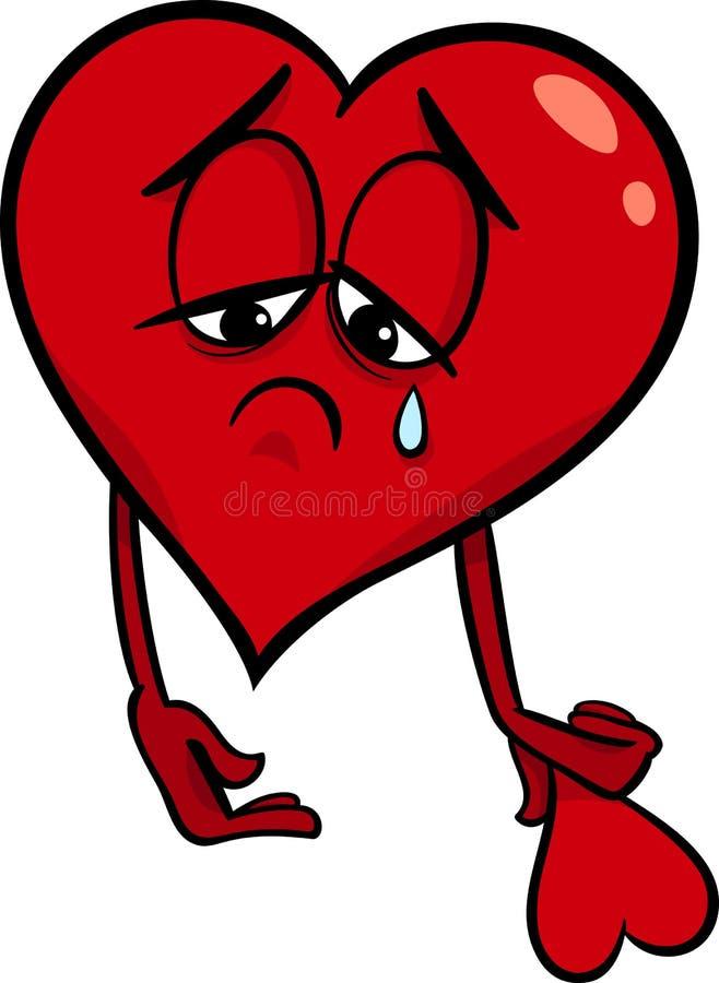 Λυπημένη σπασμένη απεικόνιση κινούμενων σχεδίων καρδιών διανυσματική απεικόνιση