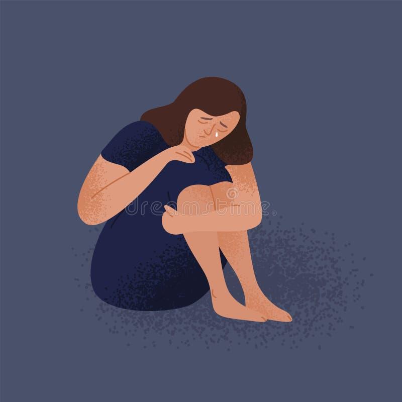 Λυπημένη φωνάζοντας μόνη νέα συνεδρίαση γυναικών στο πάτωμα Καταθλιπτικό δυστυχισμένο κορίτσι Θηλυκός χαρακτήρας στην κατάθλιψη,  απεικόνιση αποθεμάτων