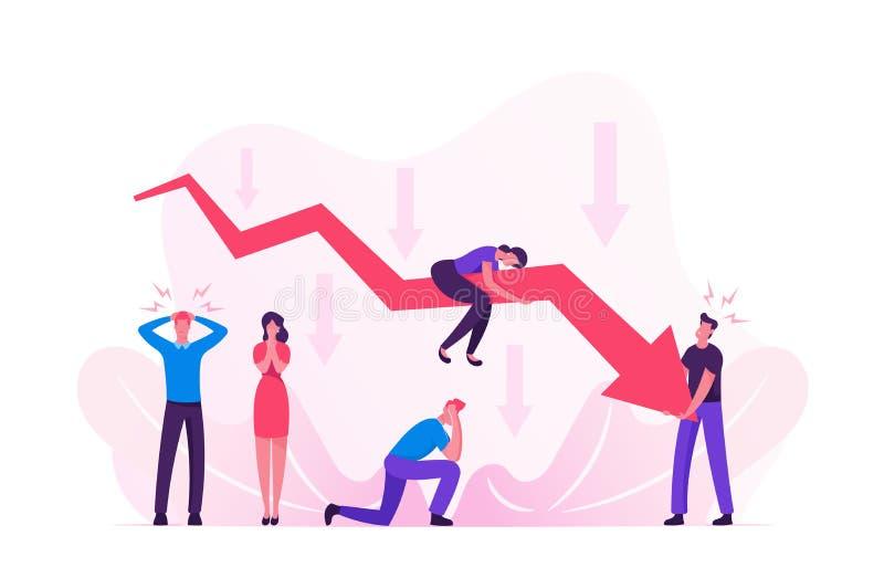 Λυπημένοι επιχειρηματίες γύρω από την απόρριψη του γραφήματος κόκκινου βέλους Επιχείρηση στο Fall Down Graph Πρόβλημα οικονομικού ελεύθερη απεικόνιση δικαιώματος
