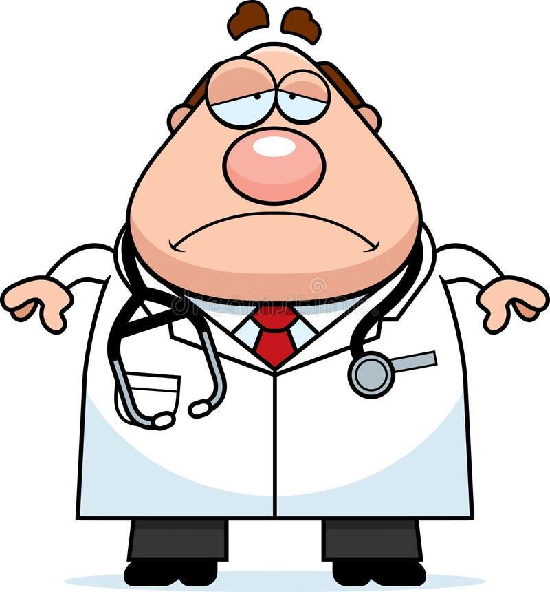 Λυπημένος γιατρός κινούμενων σχεδίων διανυσματική απεικόνιση
