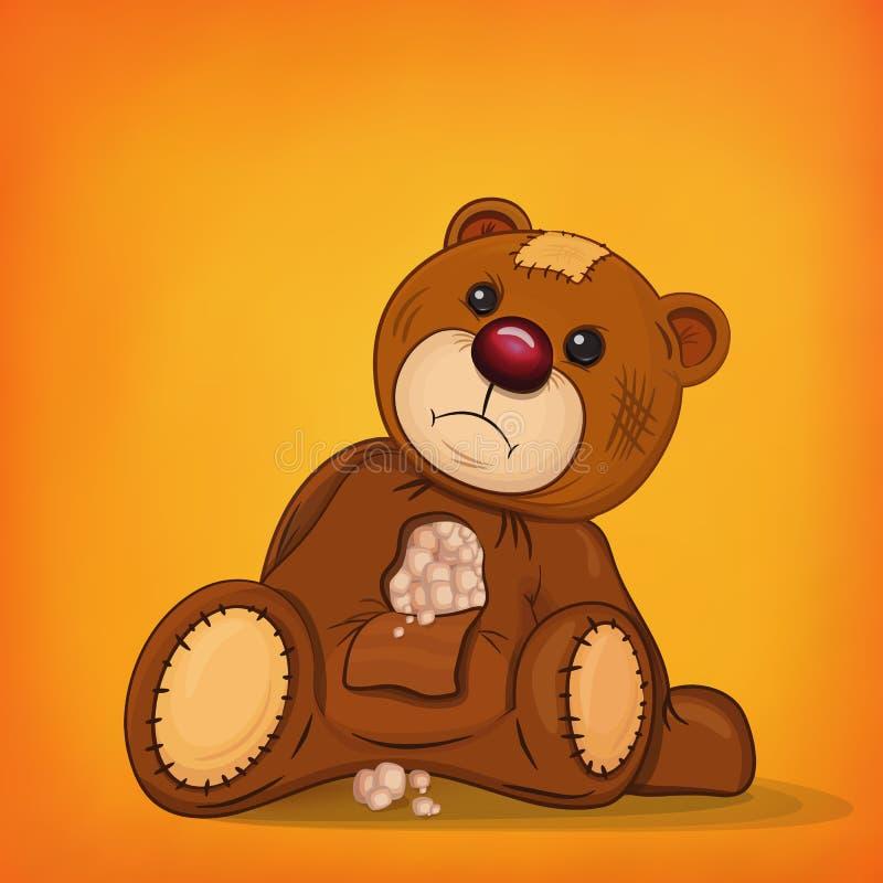 Λυπημένος καφετής τραυματισμένος teddy αντέχει ελεύθερη απεικόνιση δικαιώματος