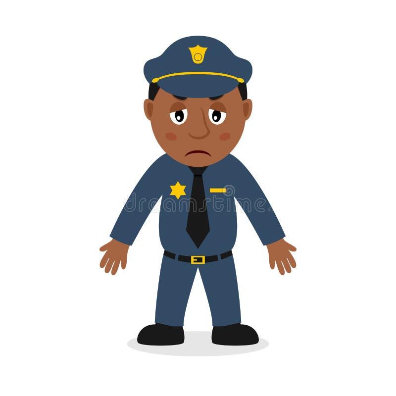 Λυπημένος μαύρος χαρακτήρας κινουμένων σχεδίων αστυνομικών ελεύθερη απεικόνιση δικαιώματος