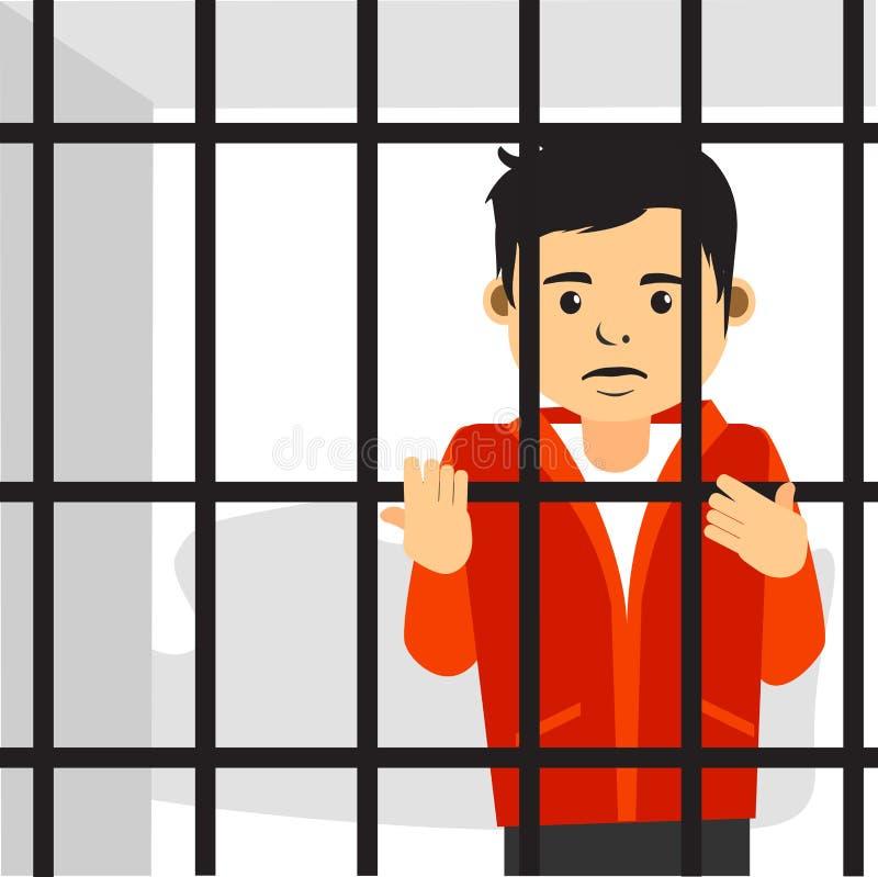 Λυπημένος νέος τύπος μέσα στη φυλακή διανυσματική απεικόνιση