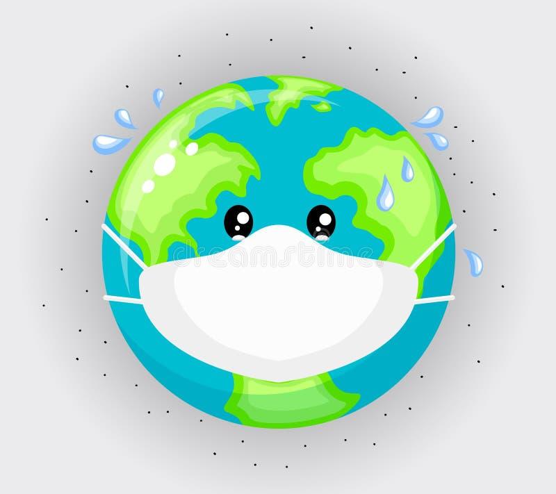 Λυπημένος πλανήτης Γη που φορά τις προστατευτικές μάσκες προσώπου διανυσματική απεικόνιση