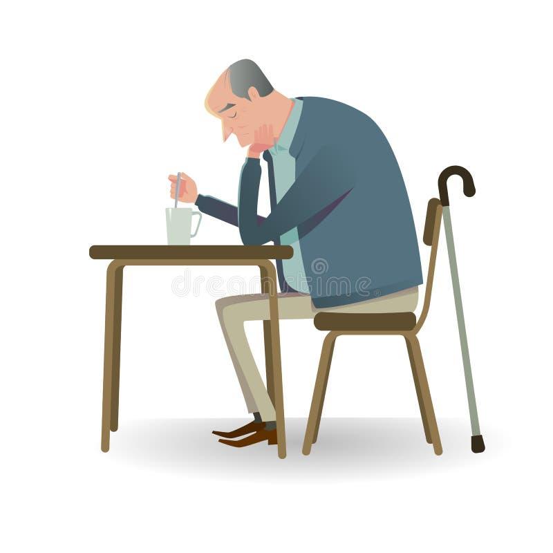 Λυπημένος πρεσβύτερος με τη συνεδρίαση καλάμων σε έναν καναπέ ελεύθερη απεικόνιση δικαιώματος