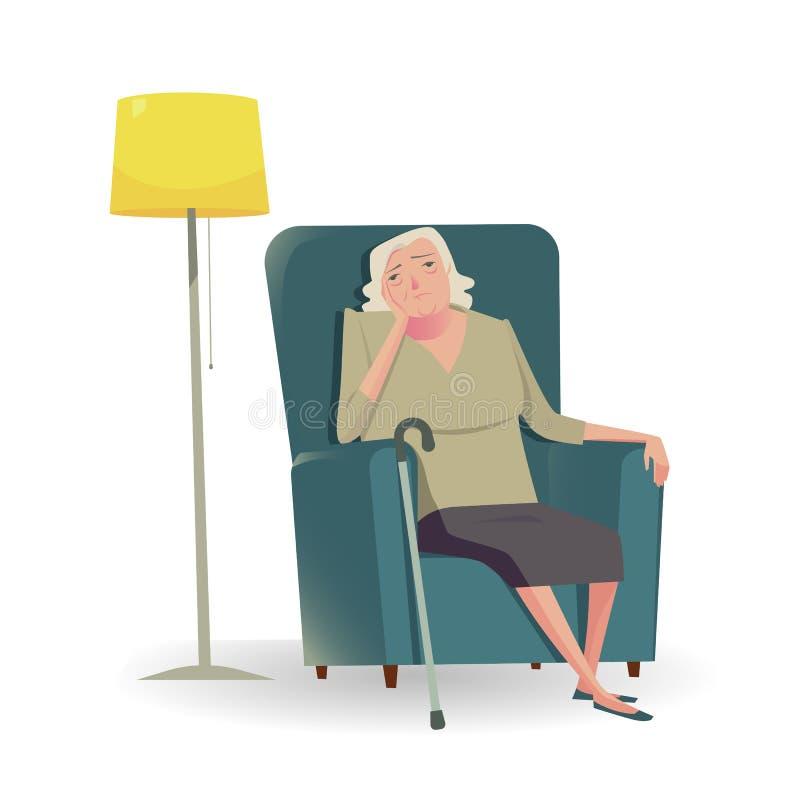 Λυπημένος πρεσβύτερος με τη συνεδρίαση καλάμων σε έναν καναπέ απεικόνιση αποθεμάτων