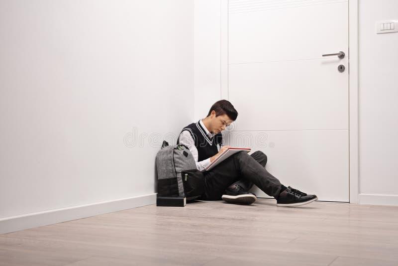 Λυπημένος σπουδαστής εφήβων που γράφει σε ένα σημειωματάριο στο εσωτερικό στοκ φωτογραφία με δικαίωμα ελεύθερης χρήσης
