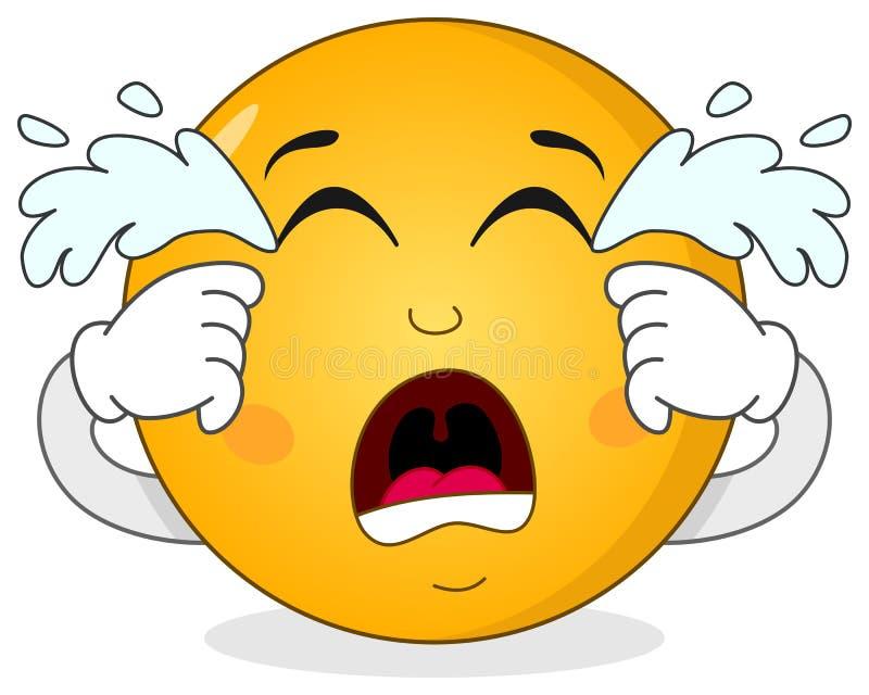 Λυπημένος φωνάζοντας χαρακτήρας Smiley Emoticon απεικόνιση αποθεμάτων