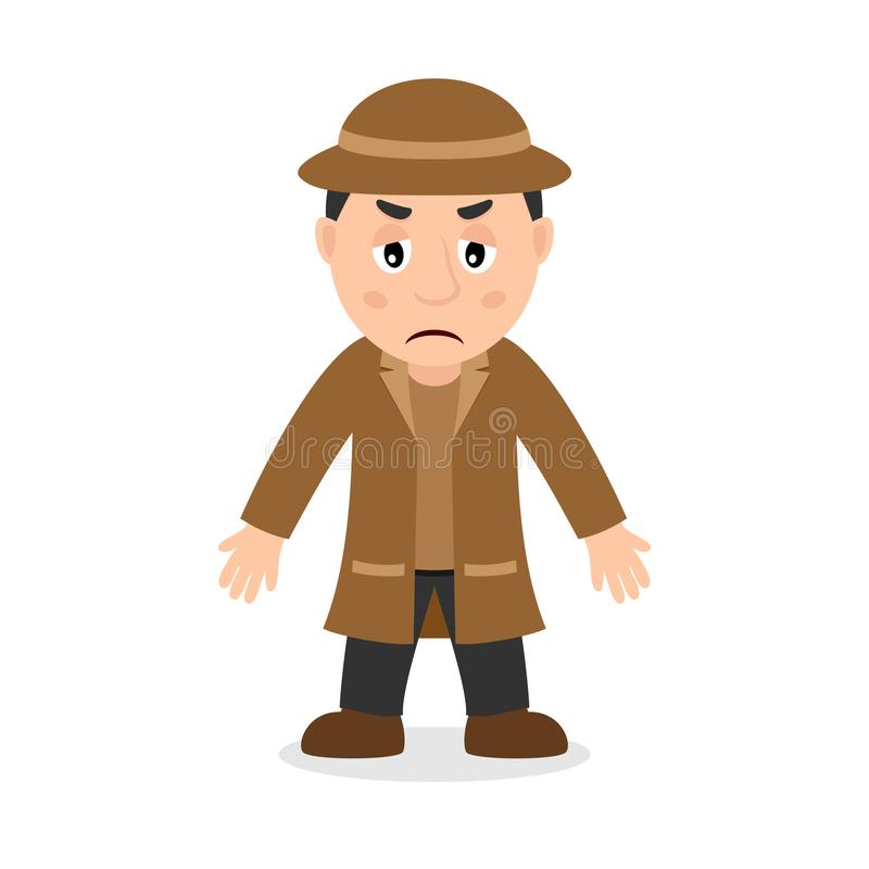 Λυπημένος χαρακτήρας κινουμένων σχεδίων ιδιωτικών αστυνομικών ελεύθερη απεικόνιση δικαιώματος
