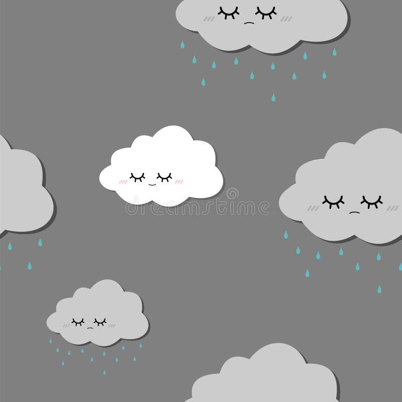 Λυπημένο βροχερό άνευ ραφής διανυσματικό σχέδιο σύννεφων σε ένα γκρίζο υπόβαθρο στοκ εικόνα