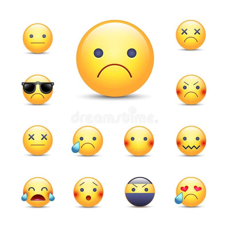 Λυπημένο, θλιβερό σύνολο προσώπου emoji κινούμενων σχεδίων διανυσματικό διανυσματική απεικόνιση