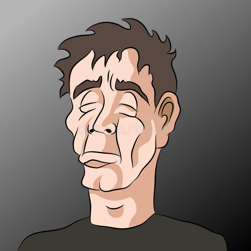Λυπημένο καταθλιπτικό άτομο κινούμενων σχεδίων απεικόνιση αποθεμάτων