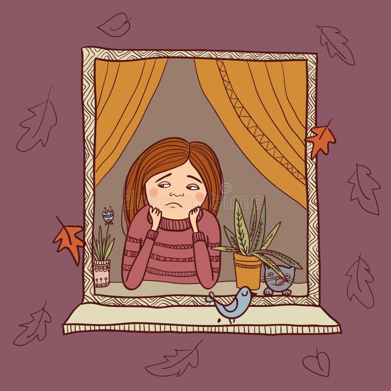 Λυπημένο κορίτσι που κοιτάζει στην απεικόνιση φθινοπώρου παραθύρων ελεύθερη απεικόνιση δικαιώματος