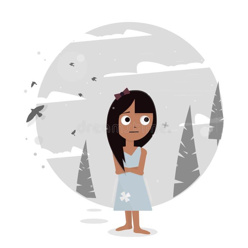 Λυπημένο κορίτσι που χάνεται στα ξύλα ελεύθερη απεικόνιση δικαιώματος