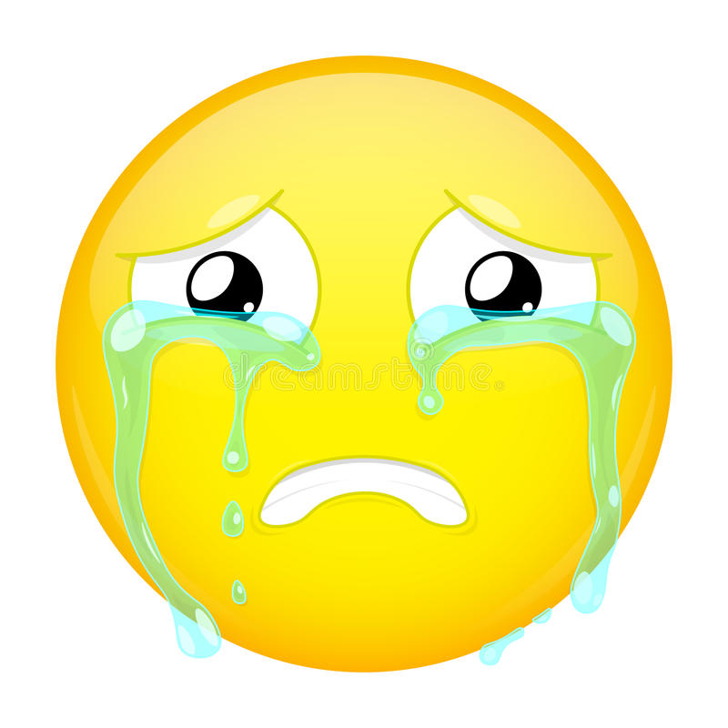 Λυπημένο να φωνάξει emoji Κακή συγκίνηση Κλάμα emoticon Διανυσματικό εικονίδιο χαμόγελου απεικόνισης διανυσματική απεικόνιση