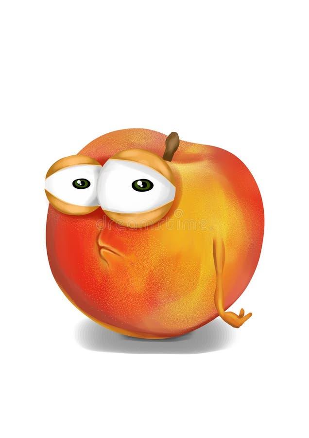 Λυπημένο ροδάκινο, ένας απογοητευμένος χαρακτήρας κινουμένων σχεδίων ελεύθερη απεικόνιση δικαιώματος