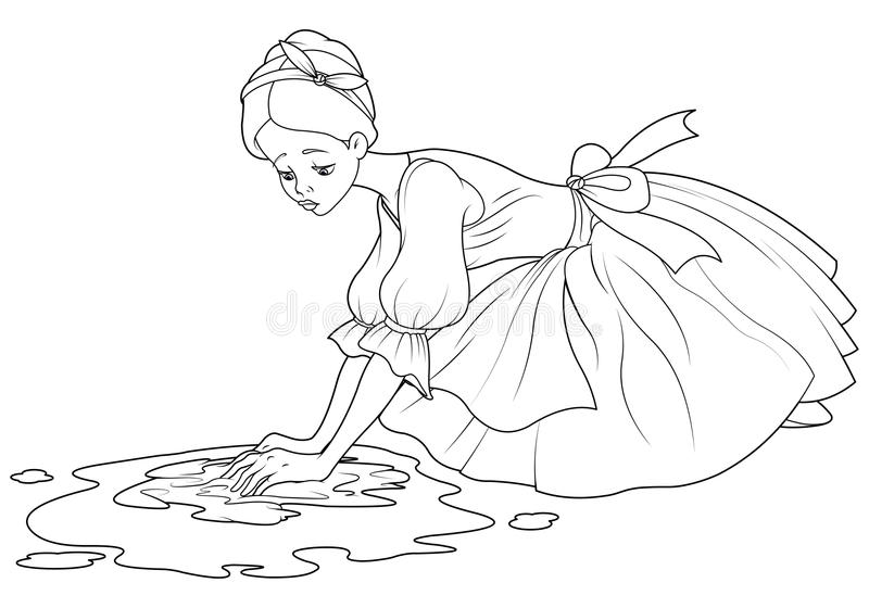 Λυπημένο Cinderella πλένει το πάτωμα απεικόνιση αποθεμάτων