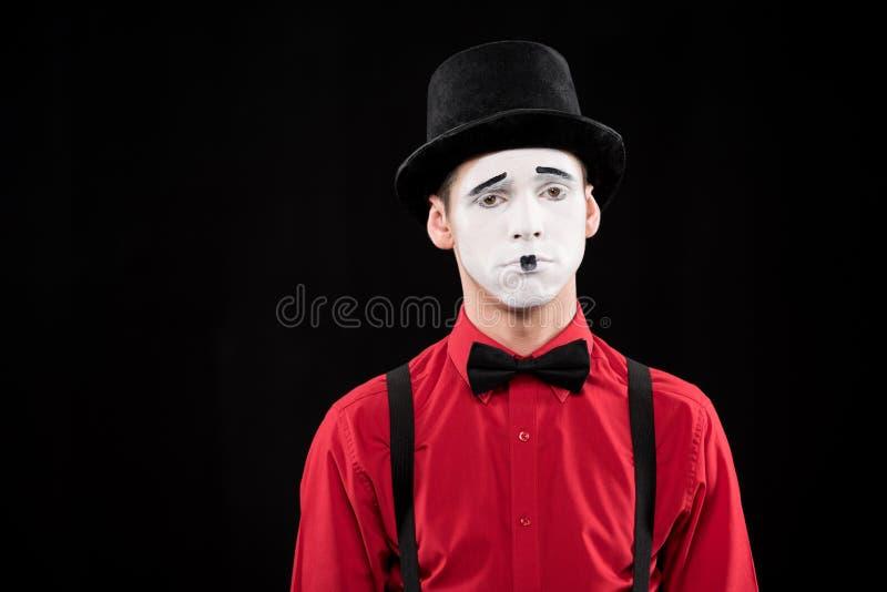 λυπημένο mime που εξετάζει τη κάμερα στοκ εικόνα με δικαίωμα ελεύθερης χρήσης