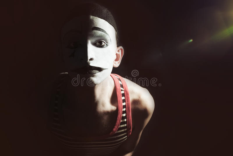 Λυπημένο mime στο Μαύρο στοκ φωτογραφία με δικαίωμα ελεύθερης χρήσης