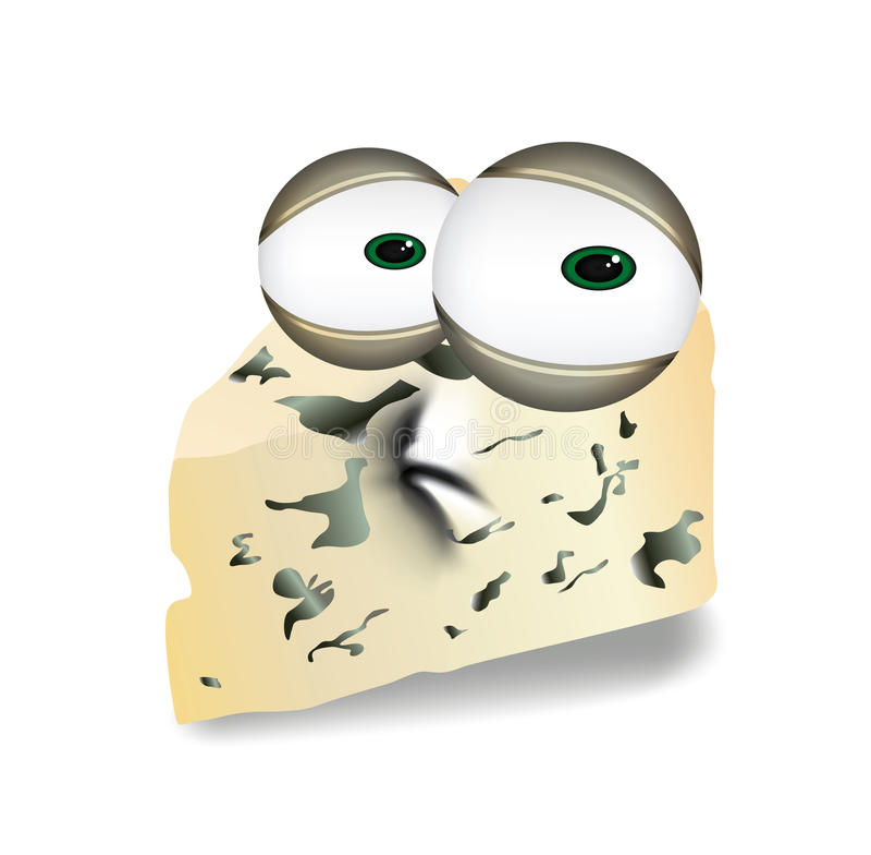 Λυπημένο Roquefort, Gorgonzola ή Stilton τυρί, απογοητευμένο κομμάτι τριγώνων του μπλε τυριού, γαλακτοκομική απεικόνιση χαρακτήρα διανυσματική απεικόνιση