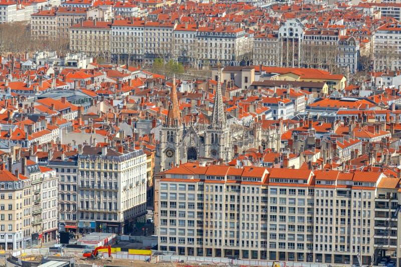 Λυών εναέρια όψη πόλεων στοκ εικόνες