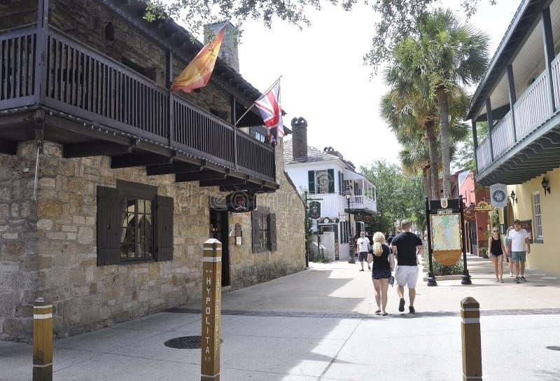 ΛΦ του ST Augustine, στις 8 Αυγούστου: Άποψη οδών στην αποικιακή κομητεία του ST Augustine από τη Φλώριδα στοκ φωτογραφίες
