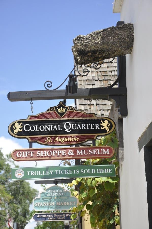 ΛΦ του ST Augustine, στις 8 Αυγούστου: Πινακίδες στην αποικιακή κομητεία του ST Augustine από τη Φλώριδα στοκ φωτογραφία με δικαίωμα ελεύθερης χρήσης
