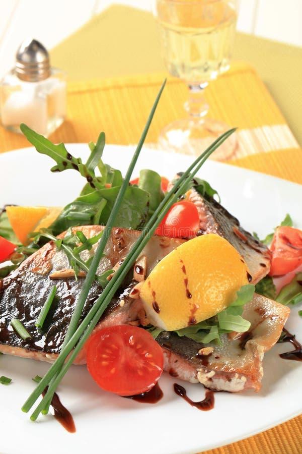 Λωρίδες πεστροφών σολομών και πράσινα σαλάτας στοκ εικόνα με δικαίωμα ελεύθερης χρήσης