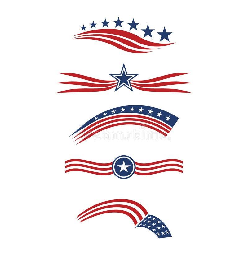Λωρίδες και εικονίδια λογότυπων σημαιών ΑΜΕΡΙΚΑΝΙΚΩΝ αστεριών ελεύθερη απεικόνιση δικαιώματος