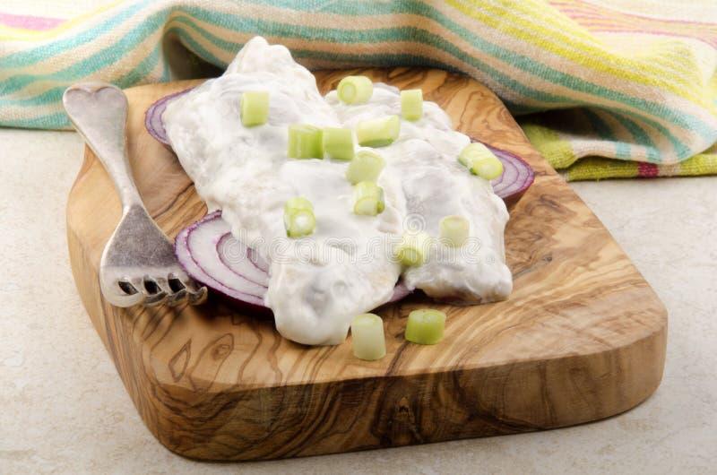 Λωρίδες ρεγγών στην ξινή κρέμα, τα πορφυρά κρεμμύδια και τα κρεμμύδια άνοιξη στοκ εικόνα με δικαίωμα ελεύθερης χρήσης