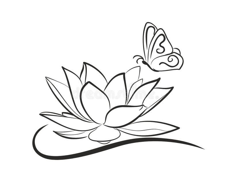 Λωτός νερού με μια πεταλούδα διανυσματική απεικόνιση