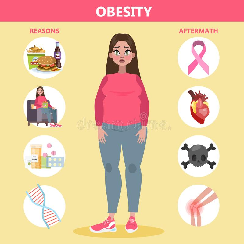 Λόγοι και αποτελέσματα παχυσαρκίας infographic για τους παχιούς ανθρώπους διανυσματική απεικόνιση