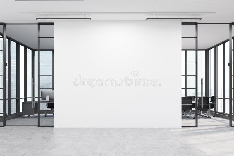 Λόμπι γραφείων με μεγάλο άσπρο τοίχο και δύο αίθουσες συνεδριάσεων διανυσματική απεικόνιση