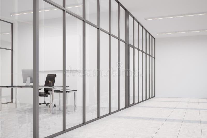 Λόμπι γραφείων με τους τοίχους γυαλιού και το γραφείο CEO ελεύθερη απεικόνιση δικαιώματος