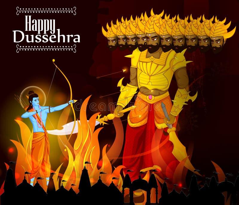 Λόρδος Rama που σκοτώνει Ravana κατά τη διάρκεια του φεστιβάλ Dussehra της Ινδίας διανυσματική απεικόνιση