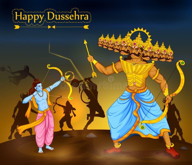 Λόρδος Rama που σκοτώνει Ravana κατά τη διάρκεια του φεστιβάλ Dussehra της Ινδίας απεικόνιση αποθεμάτων