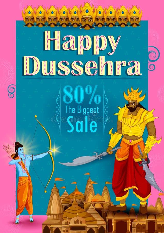Λόρδος Rama που σκοτώνει Ravana κατά τη διάρκεια του φεστιβάλ Dussehra του υποβάθρου διαφημίσεων προώθησης πώλησης της Ινδίας διανυσματική απεικόνιση