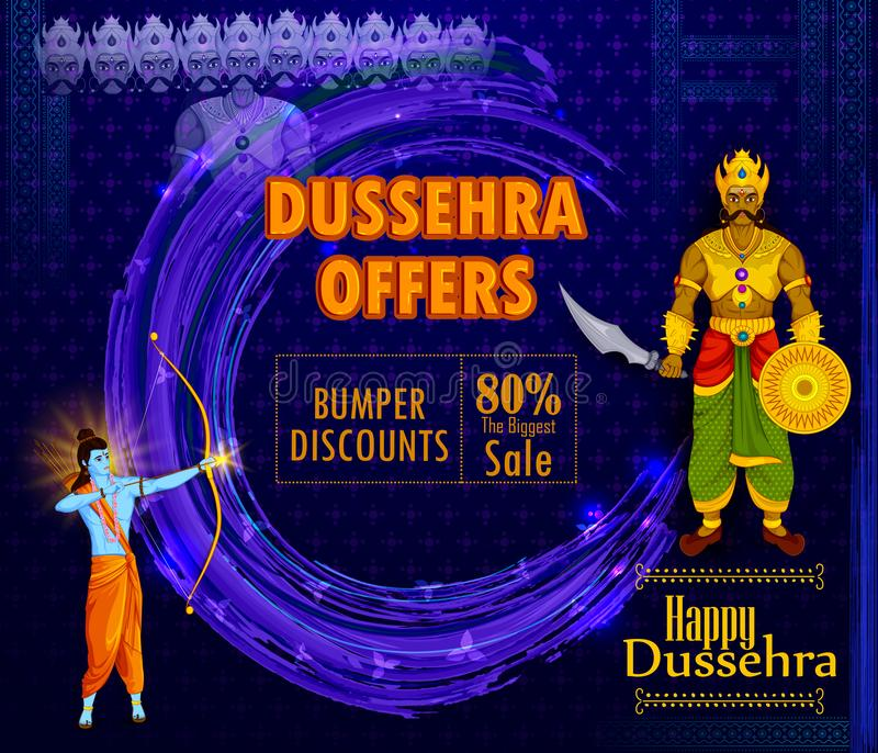 Λόρδος Rama που σκοτώνει Ravana κατά τη διάρκεια του φεστιβάλ Dussehra του υποβάθρου διαφημίσεων προώθησης πώλησης της Ινδίας απεικόνιση αποθεμάτων