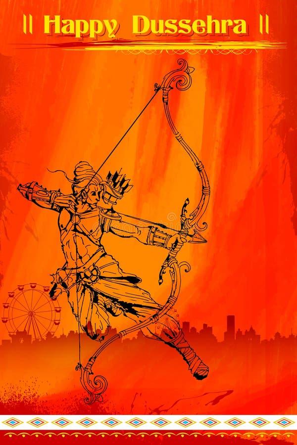 Λόρδος Rama με το βέλος killimg Ravana τόξων διανυσματική απεικόνιση