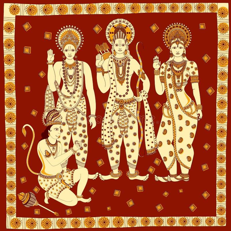 Λόρδος Rama, Laxmana, Sita με το υπόβαθρο Hanuma ελεύθερη απεικόνιση δικαιώματος