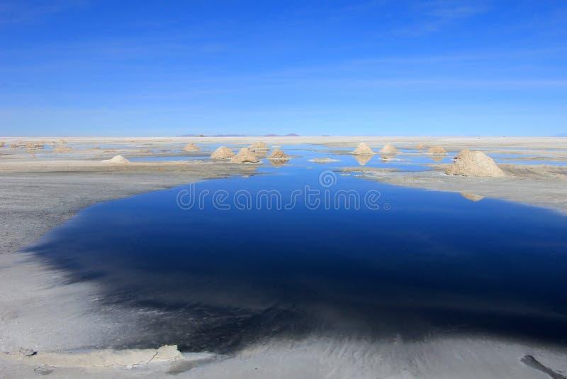 Λόφοι του άλατος πίσω από τη λίμνη, Salar de Uyuni, Βολιβία στοκ φωτογραφίες με δικαίωμα ελεύθερης χρήσης
