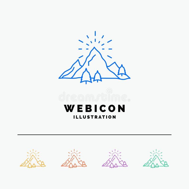 λόφος, τοπίο, φύση, βουνό, πυροτεχνήματα 5 πρότυπο εικονιδίων Ιστού γραμμών χρώματος που απομονώνεται στο λευκό r διανυσματική απεικόνιση