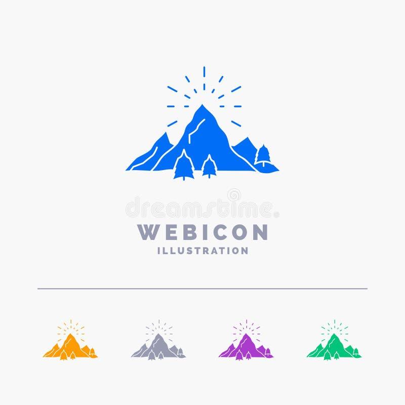 λόφος, τοπίο, φύση, βουνό, πυροτεχνήματα 5 πρότυπο εικονιδίων Ιστού Glyph χρώματος που απομονώνεται στο λευκό r απεικόνιση αποθεμάτων