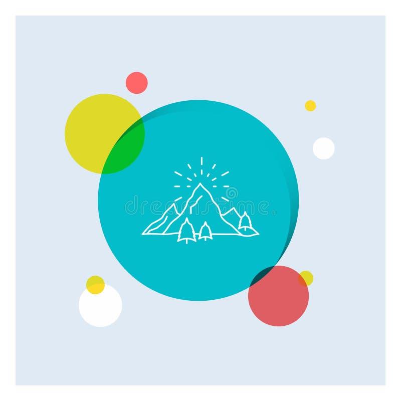 λόφος, τοπίο, φύση, βουνό, πυροτεχνημάτων άσπρο γραμμών υπόβαθρο κύκλων εικονιδίων ζωηρόχρωμο ελεύθερη απεικόνιση δικαιώματος