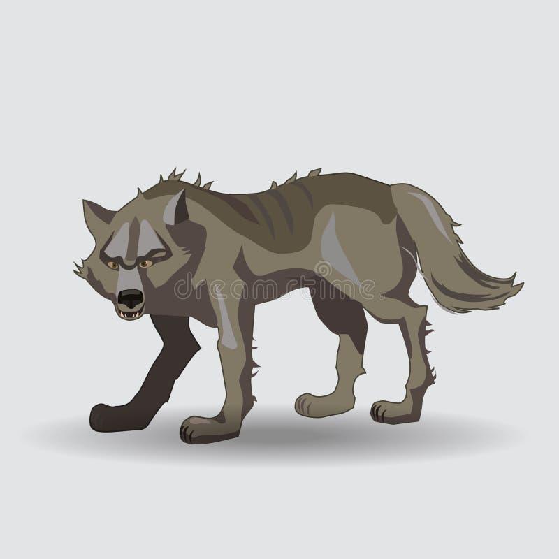 Λύκος, αρπακτικό ζώο, κινούμενα σχέδια στοκ εικόνα
