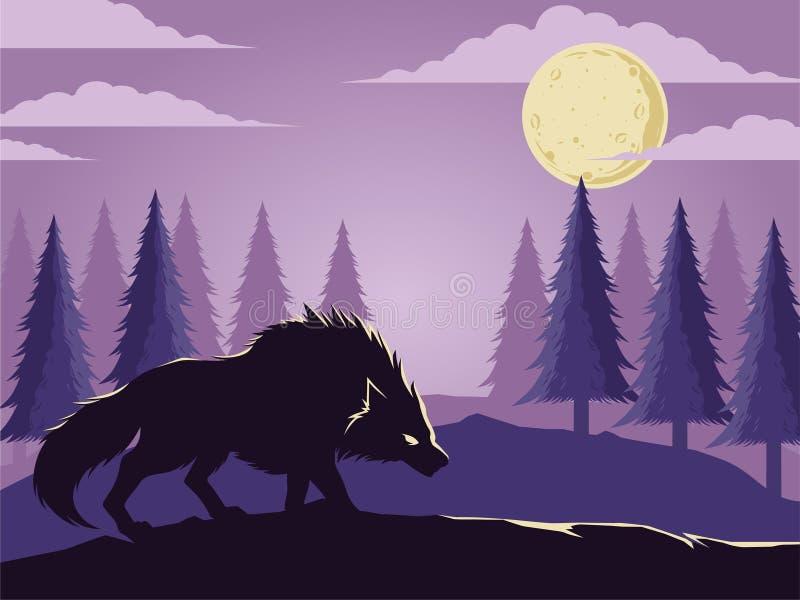 Λύκος κάτω από το φεγγάρι στο άγριο δασικό διάνυσμα απεικόνισης ελεύθερη απεικόνιση δικαιώματος